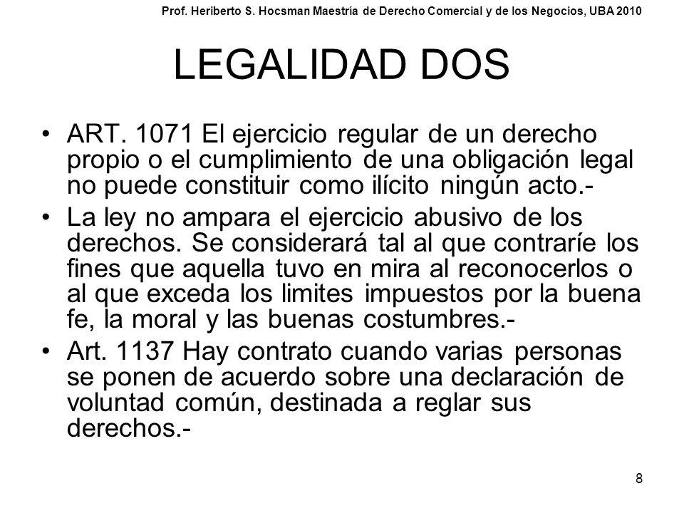 8 LEGALIDAD DOS ART. 1071 El ejercicio regular de un derecho propio o el cumplimiento de una obligación legal no puede constituir como ilícito ningún