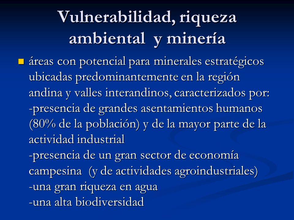 Vulnerabilidad, riqueza ambiental y minería áreas con potencial para minerales estratégicos ubicadas predominantemente en la región andina y valles in