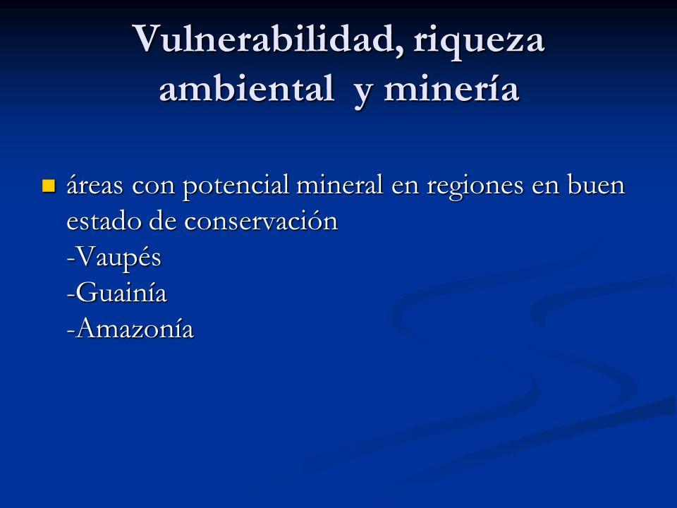 Vulnerabilidad, riqueza ambiental y minería áreas con potencial mineral en regiones en buen estado de conservación -Vaupés -Guainía -Amazonía áreas co