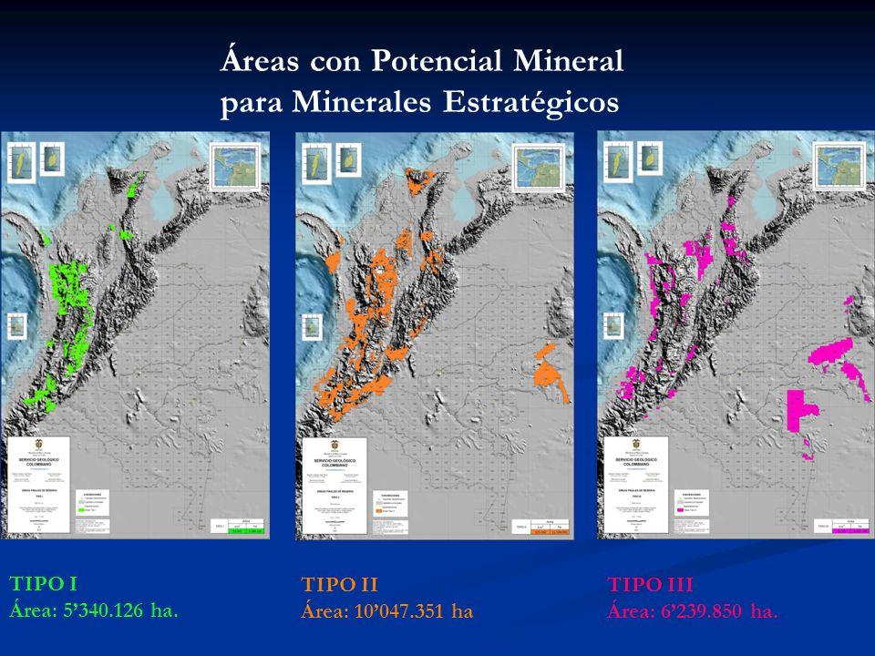 TIPO I Área: 5340.126 ha. TIPO II Área: 10047.351 ha TIPO III Área: 6239.850 ha. Áreas con Potencial Mineral para Minerales Estratégicos