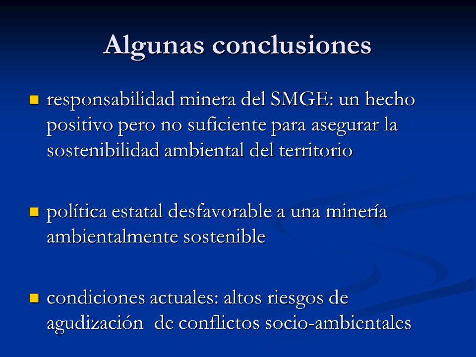 Algunas conclusiones responsabilidad minera del SMGE: un hecho positivo pero no suficiente para asegurar la sostenibilidad ambiental del territorio re