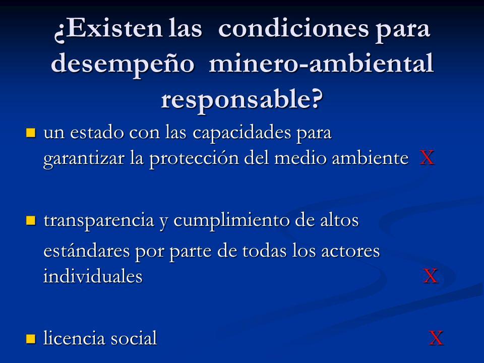 ¿Existen las condiciones para desempeño minero-ambiental responsable? un estado con las capacidades para garantizar la protección del medio ambiente X