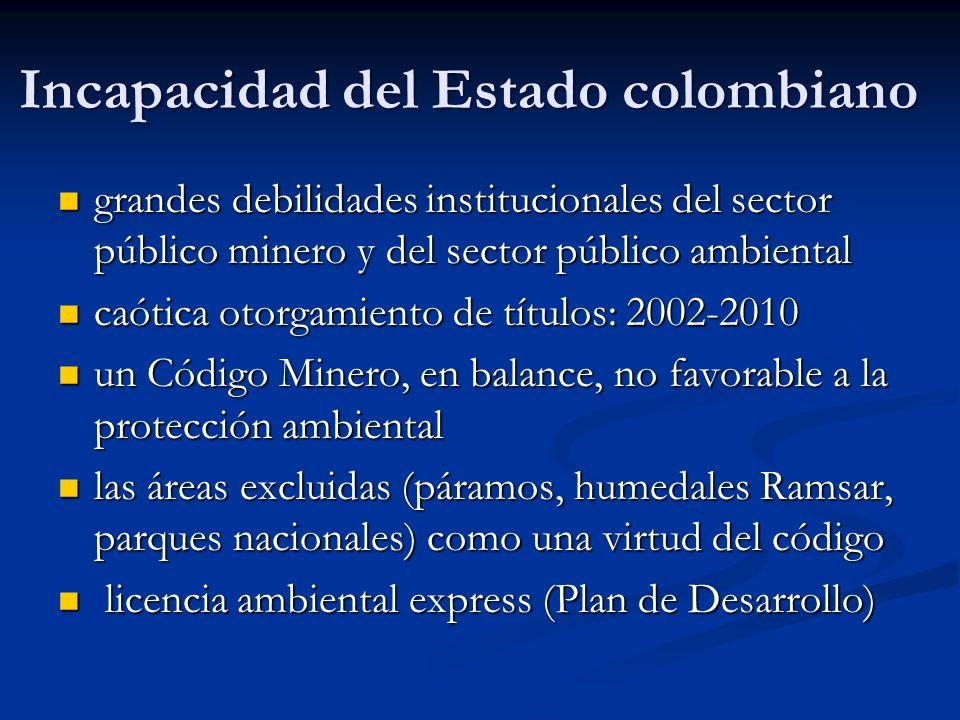 Incapacidad del Estado colombiano grandes debilidades institucionales del sector público minero y del sector público ambiental grandes debilidades ins