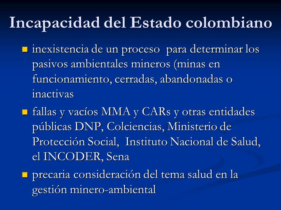 Incapacidad del Estado colombiano inexistencia de un proceso para determinar los pasivos ambientales mineros (minas en funcionamiento, cerradas, aband