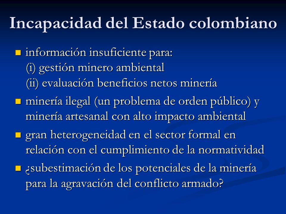 Incapacidad del Estado colombiano información insuficiente para: (i) gestión minero ambiental (ii) evaluación beneficios netos minería información ins