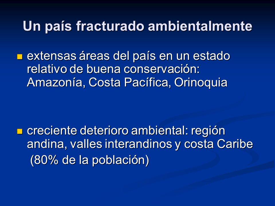 Un país fracturado ambientalmente extensas áreas del país en un estado relativo de buena conservación: Amazonía, Costa Pacífica, Orinoquia extensas ár