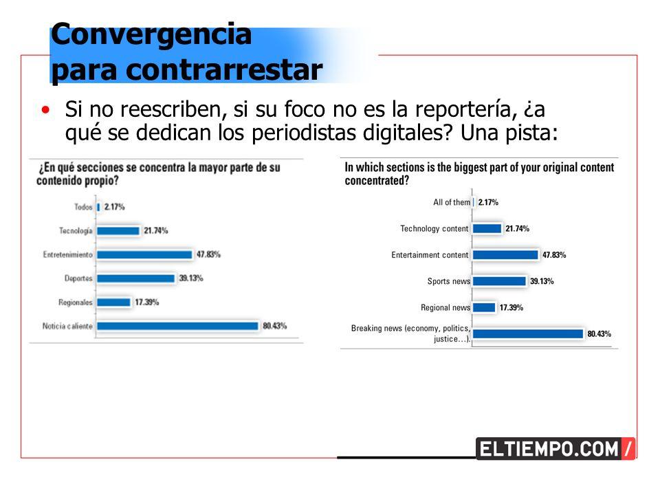Convergencia para contrarrestar Si no reescriben, si su foco no es la reportería, ¿a qué se dedican los periodistas digitales.