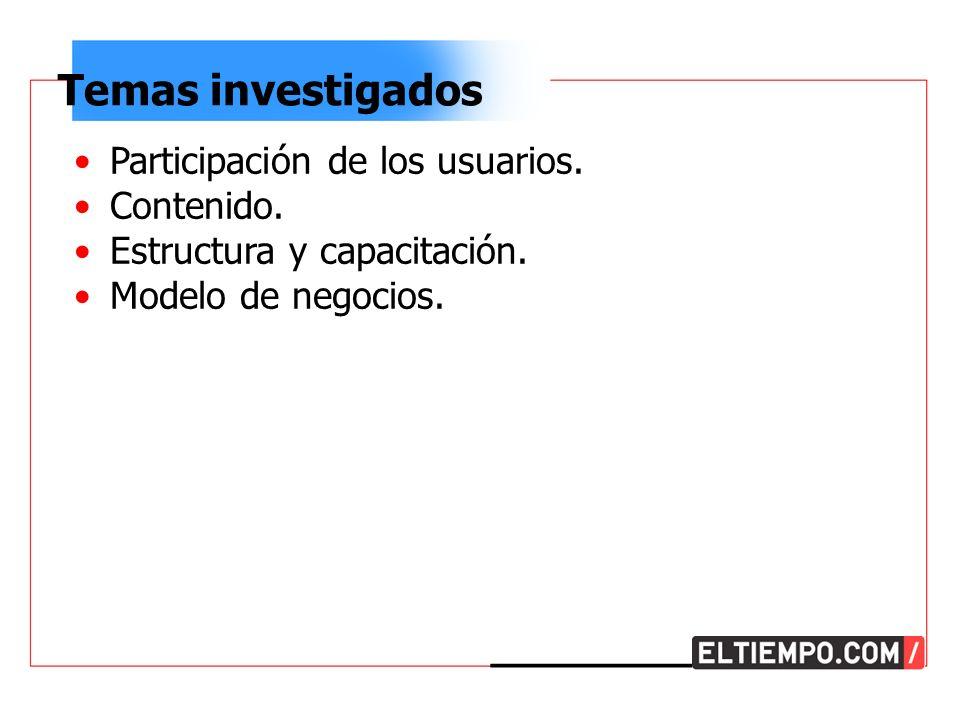 Temas investigados Participación de los usuarios. Contenido.