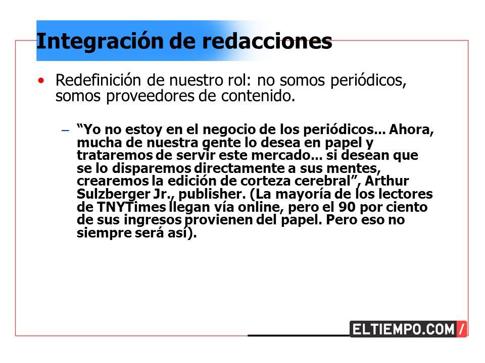Integración de redacciones Redefinición de nuestro rol: no somos periódicos, somos proveedores de contenido.