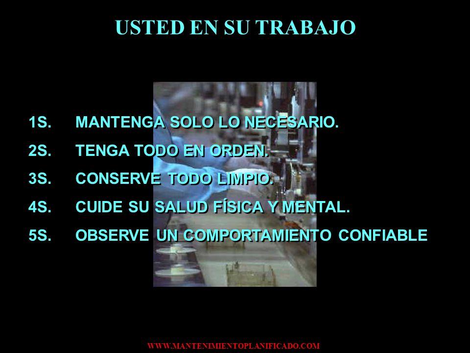 WWW.MANTENIMIENTOPLANIFICADO.COM USTED EN SU TRABAJO 1S.MANTENGA SOLO LO NECESARIO. 2S.TENGA TODO EN ORDEN. 3S.CONSERVE TODO LIMPIO. 4S.CUIDE SU SALUD