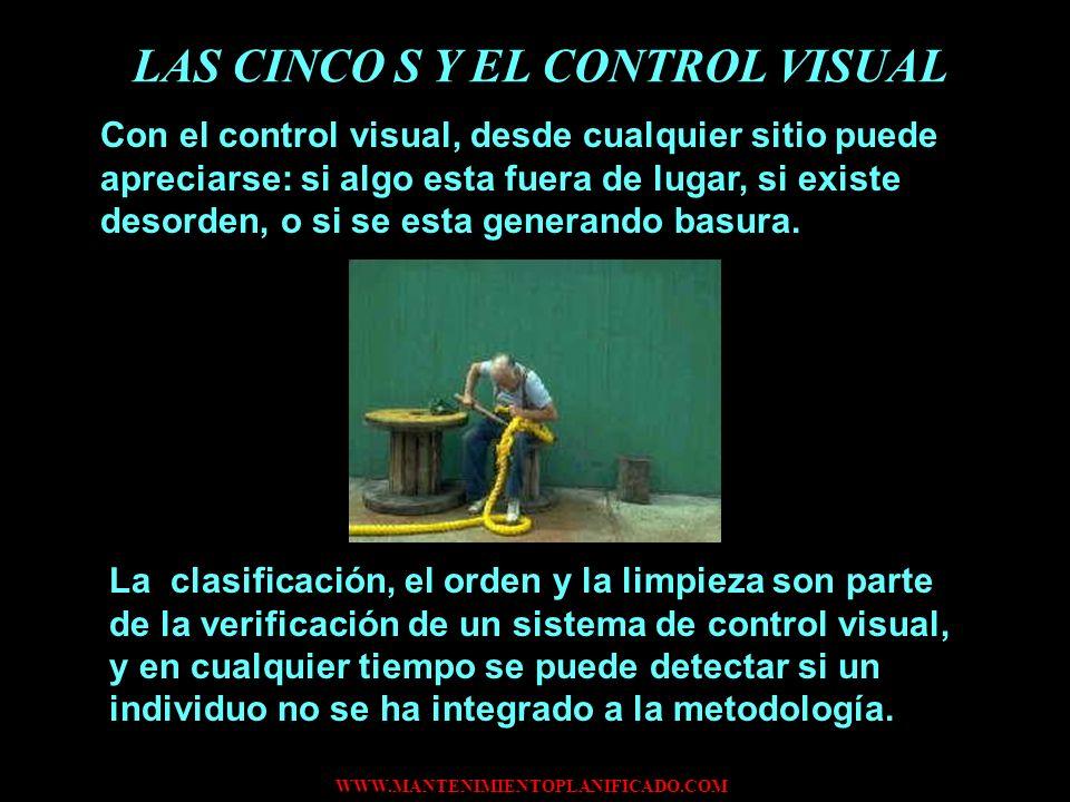 WWW.MANTENIMIENTOPLANIFICADO.COM LAS CINCO S Y EL CONTROL VISUAL Con el control visual, desde cualquier sitio puede apreciarse: si algo esta fuera de