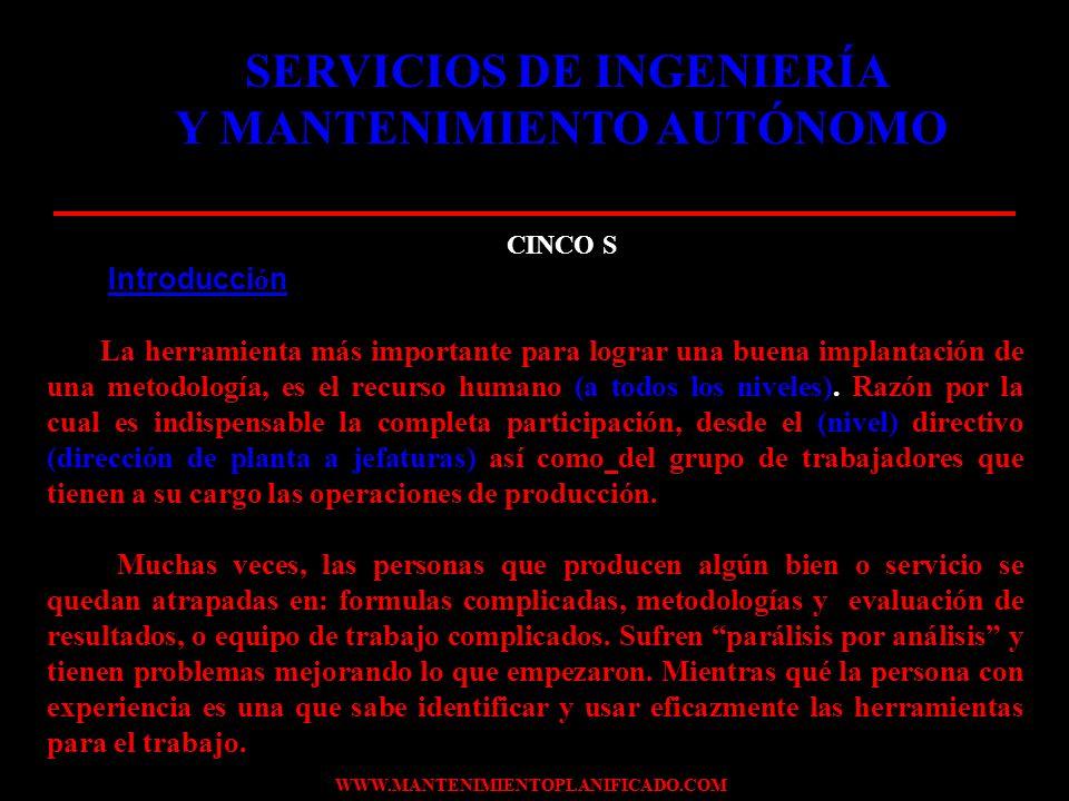 WWW.MANTENIMIENTOPLANIFICADO.COM CORRESPONDENCIA DE LAS CINCO S MAS UNO (USTED) PASO V.DISCIPLINA.