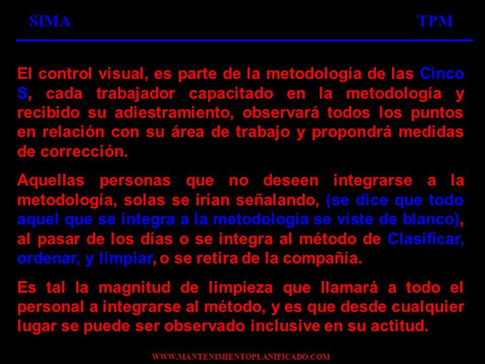 WWW.MANTENIMIENTOPLANIFICADO.COM SIMATPM El control visual, es parte de la metodología de las Cinco S, cada trabajador capacitado en la metodología y