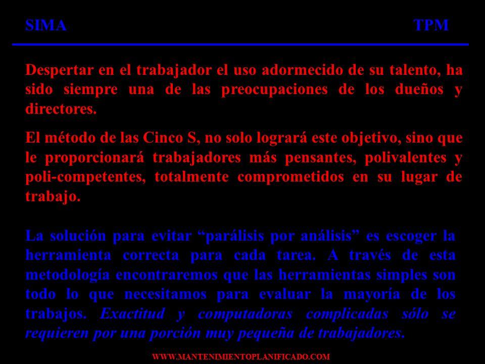 WWW.MANTENIMIENTOPLANIFICADO.COM IMPLEMENTE LAS CINCO S A TRAVÉS DE UN MÉTODO PRÁCTICO PASO A PASO A TRAVÉS DE UN MÉTODO PRÁCTICO PASO A PASO