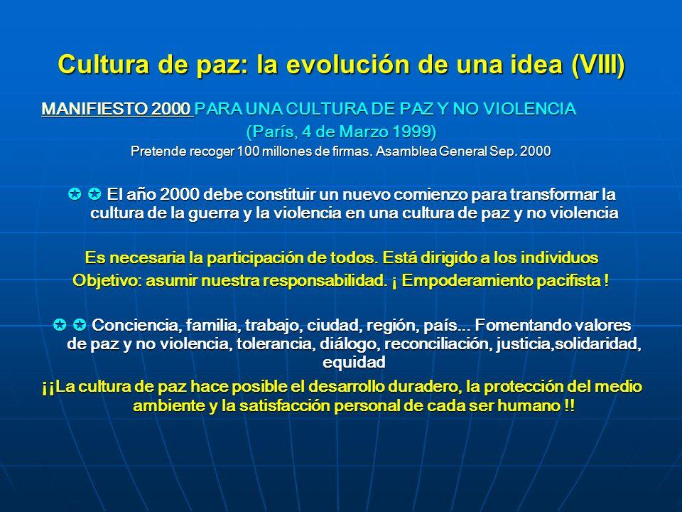 Cultura de paz: la evolución de una idea (VIII) MANIFIESTO 2000 MANIFIESTO 2000 PARA UNA CULTURA DE PAZ Y NO VIOLENCIA MANIFIESTO 2000 (París, 4 de Ma