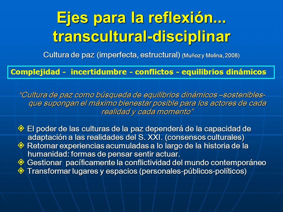 Ejes para la reflexión... transcultural-disciplinar Cultura de paz (imperfecta, estructural) (Muñoz y Molina, 2008) Cultura de paz como búsqueda de eq