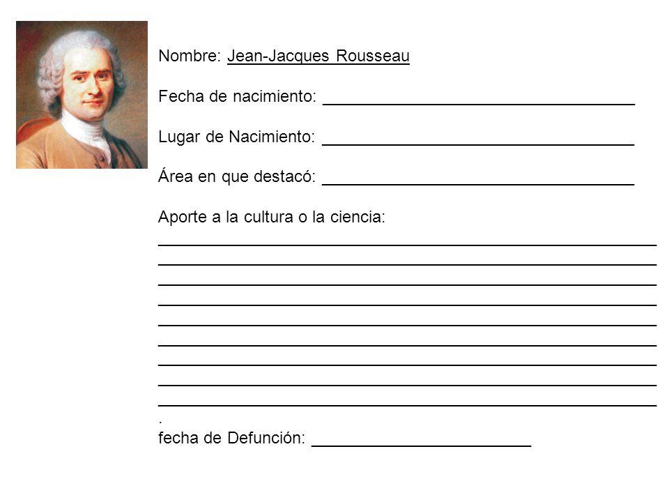 Nombre: Jean-Jacques Rousseau Fecha de nacimiento: __________________________________ Lugar de Nacimiento: __________________________________ Área en