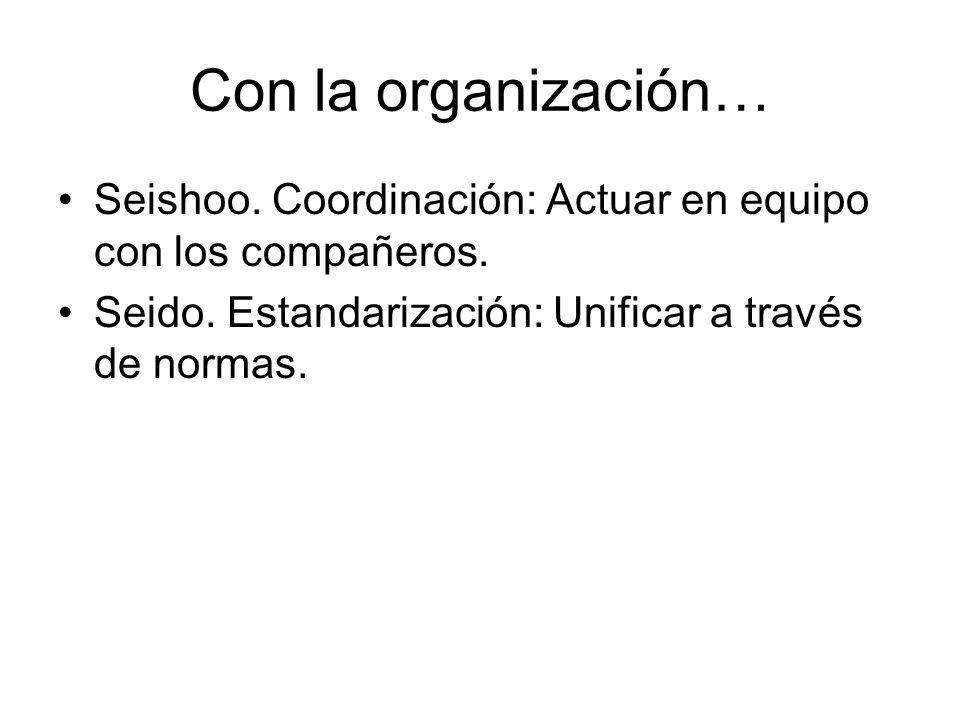 Con la organización… Seishoo. Coordinación: Actuar en equipo con los compañeros. Seido. Estandarización: Unificar a través de normas.