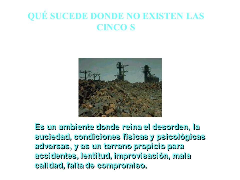 QUÉ SUCEDE DONDE NO EXISTEN LAS CINCO S Es un ambiente donde reina el desorden, la suciedad, condiciones físicas y psicológicas adversas, y es un terr