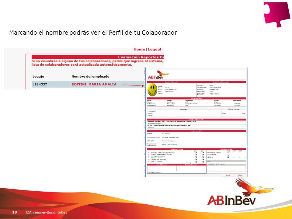 ©Anheuser-Busch InBev10 Marcando el nombre podrás ver el Perfil de tu Colaborador