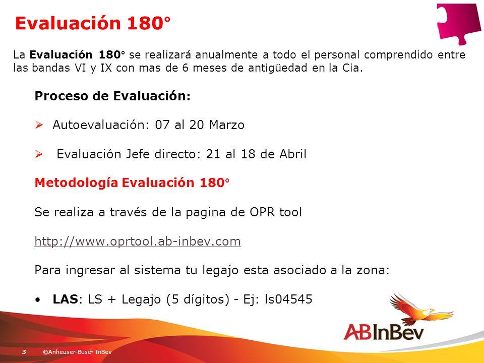©Anheuser-Busch InBev3 Evaluación 180° Proceso de Evaluación: Autoevaluación: 07 al 20 Marzo Evaluación Jefe directo: 21 al 18 de Abril Metodología Ev