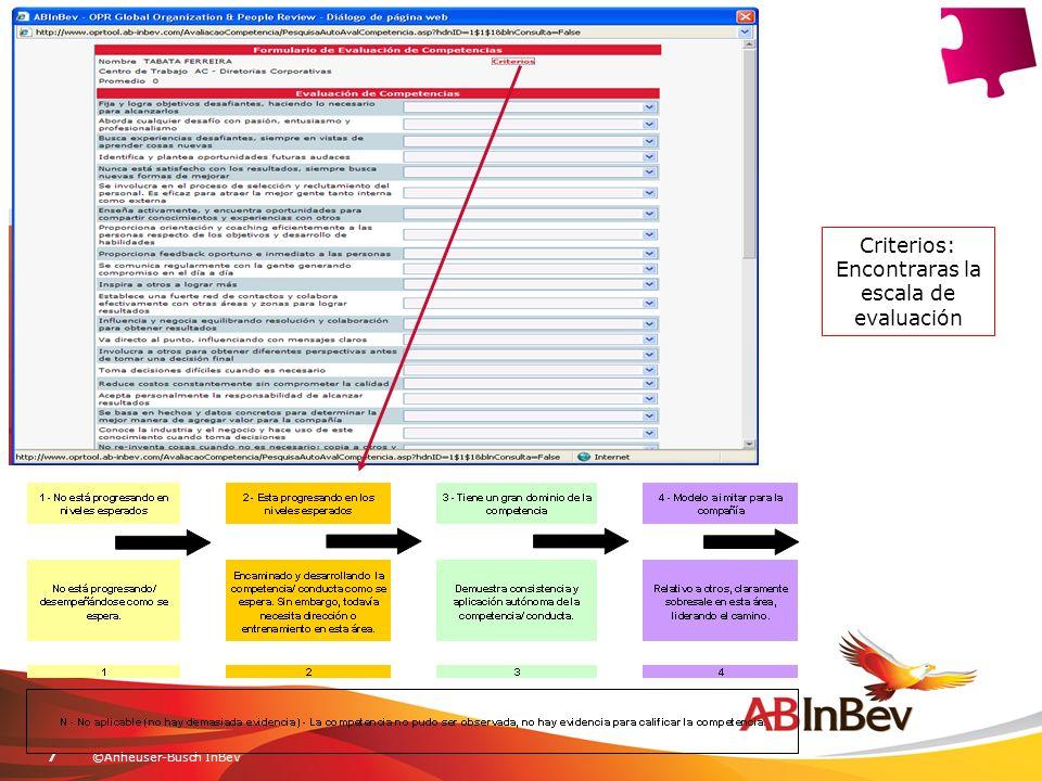 ©Anheuser-Busch InBev7 Criterios: Encontraras la escala de evaluación