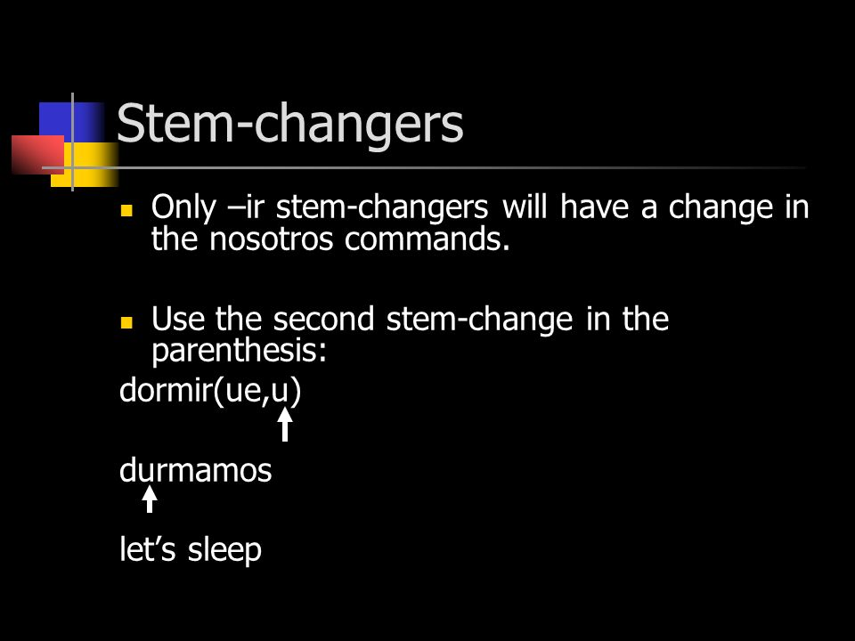 Stem-changers Only –ir stem-changers will have a change in the nosotros commands.