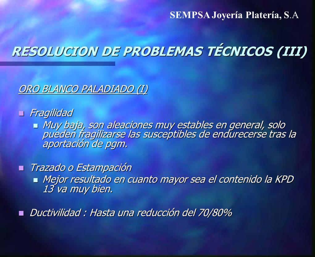 RESOLUCION DE PROBLEMAS TÉCNICOS (III) ORO BLANCO PALADIADO (I) Fragilidad Fragilidad Muy baja, son aleaciones muy estables en general, solo pueden fr