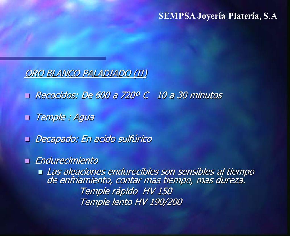 ORO BLANCO PALADIADO (II) Recocidos: De 600 a 720º C 10 a 30 minutos Recocidos: De 600 a 720º C 10 a 30 minutos Temple : Agua Temple : Agua Decapado: