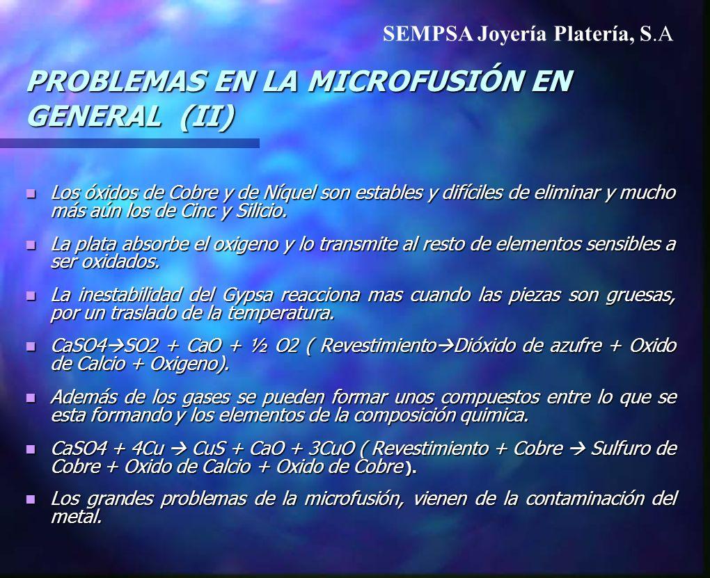 PROBLEMAS EN LA MICROFUSIÓN EN GENERAL (II) Los óxidos de Cobre y de Níquel son estables y difíciles de eliminar y mucho más aún los de Cinc y Silicio