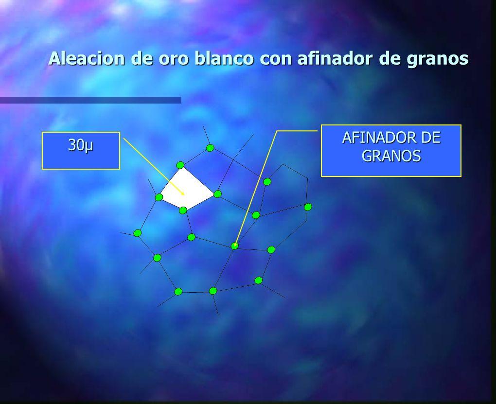 AFINADOR DE GRANOS Aleacion de oro blanco con afinador de granos 30µ