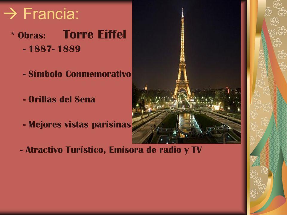 Francia: * Obras: Torre Eiffel - 1887- 1889 - Símbolo Conmemorativo - Orillas del Sena - Mejores vistas parisinas - Atractivo Turístico, Emisora de ra