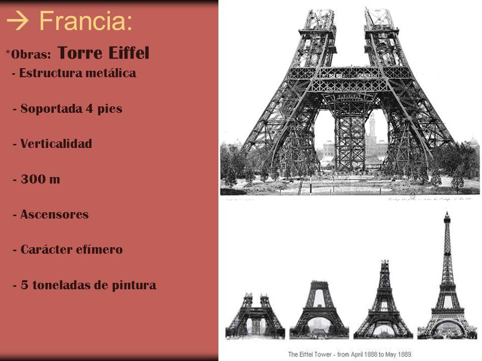 Francia: *Obras: Torre Eiffel - Estructura metálica - Soportada 4 pies - Verticalidad - 300 m - Ascensores - Carácter efímero - 5 toneladas de pintura