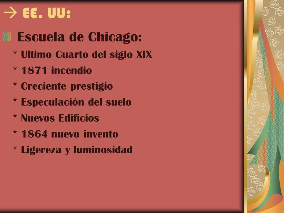 EE. UU: Escuela de Chicago: * Ultimo Cuarto del siglo XIX * 1871 incendio * Creciente prestigio * Especulación del suelo * Nuevos Edificios * 1864 nue