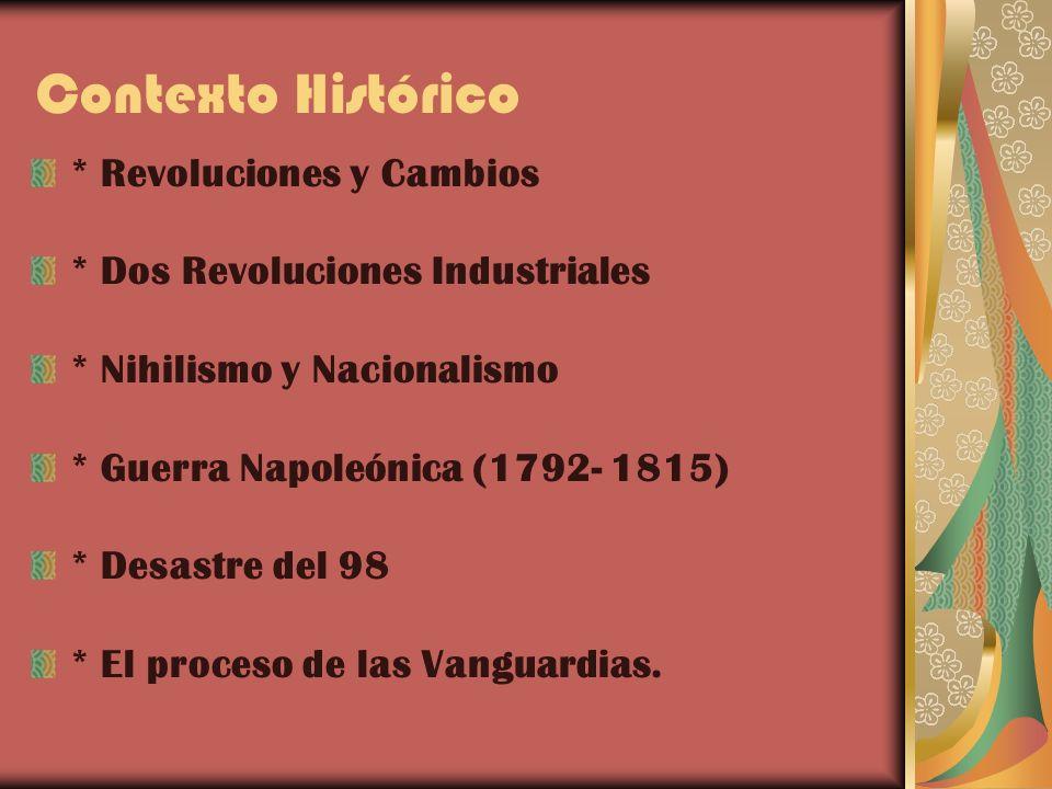 Contexto Histórico * Revoluciones y Cambios * Dos Revoluciones Industriales * Nihilismo y Nacionalismo * Guerra Napoleónica (1792- 1815) * Desastre de