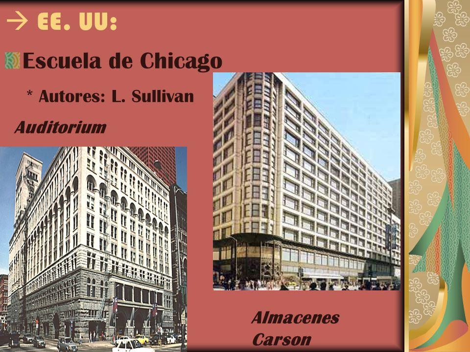 EE. UU: Escuela de Chicago * Autores: L. Sullivan Auditorium Almacenes Carson