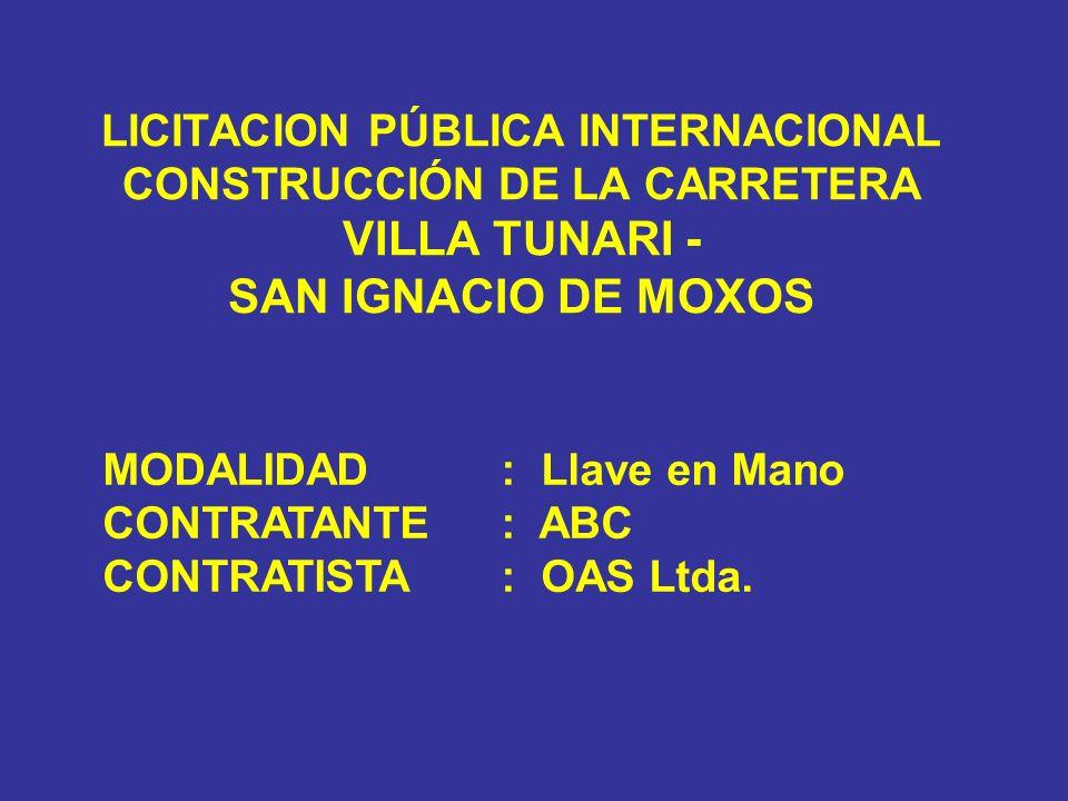 LICITACION PÚBLICA INTERNACIONAL CONSTRUCCIÓN DE LA CARRETERA VILLA TUNARI - SAN IGNACIO DE MOXOS MODALIDAD: Llave en Mano CONTRATANTE: ABC CONTRATIST