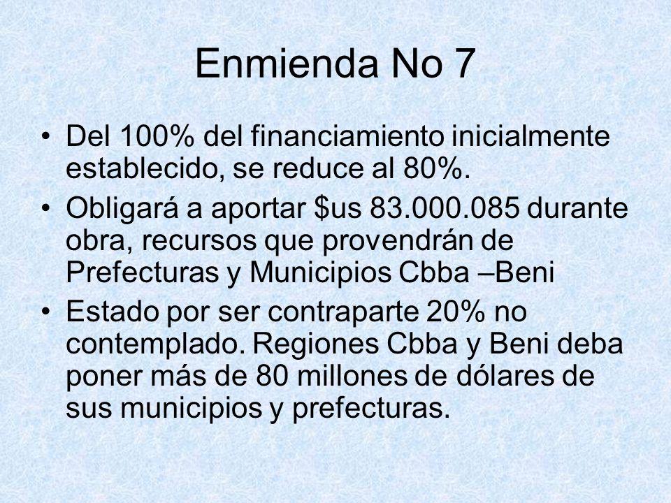 Enmienda No 7 Del 100% del financiamiento inicialmente establecido, se reduce al 80%. Obligará a aportar $us 83.000.085 durante obra, recursos que pro