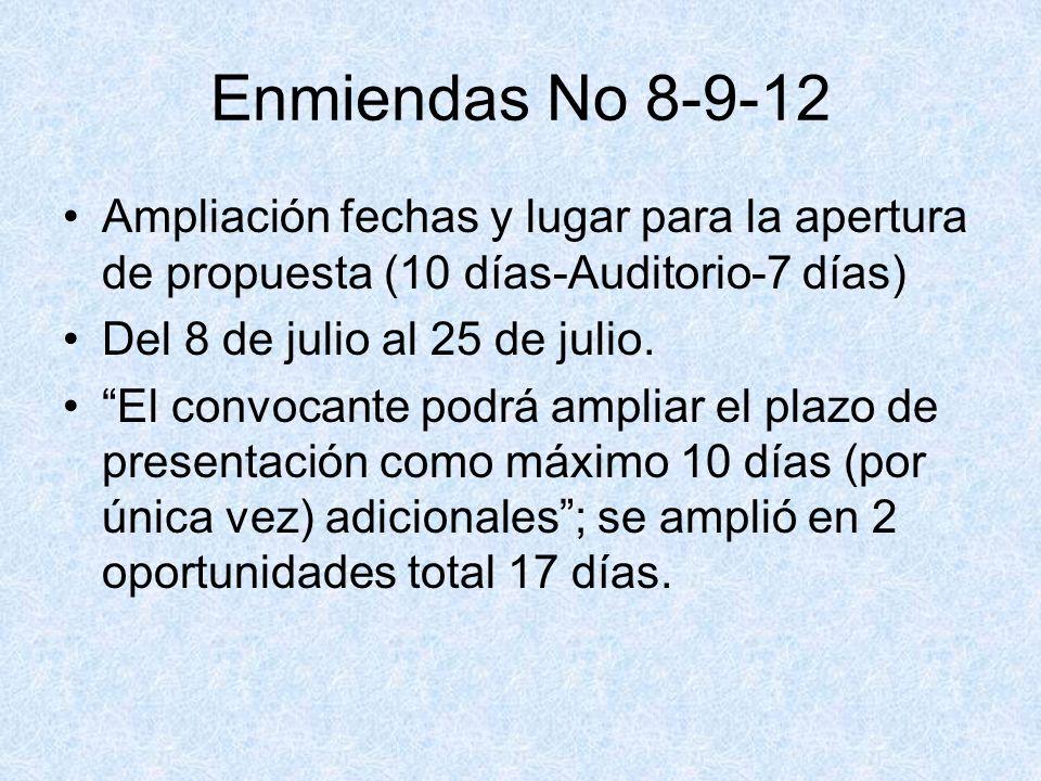 Enmiendas No 8-9-12 Ampliación fechas y lugar para la apertura de propuesta (10 días-Auditorio-7 días) Del 8 de julio al 25 de julio. El convocante po
