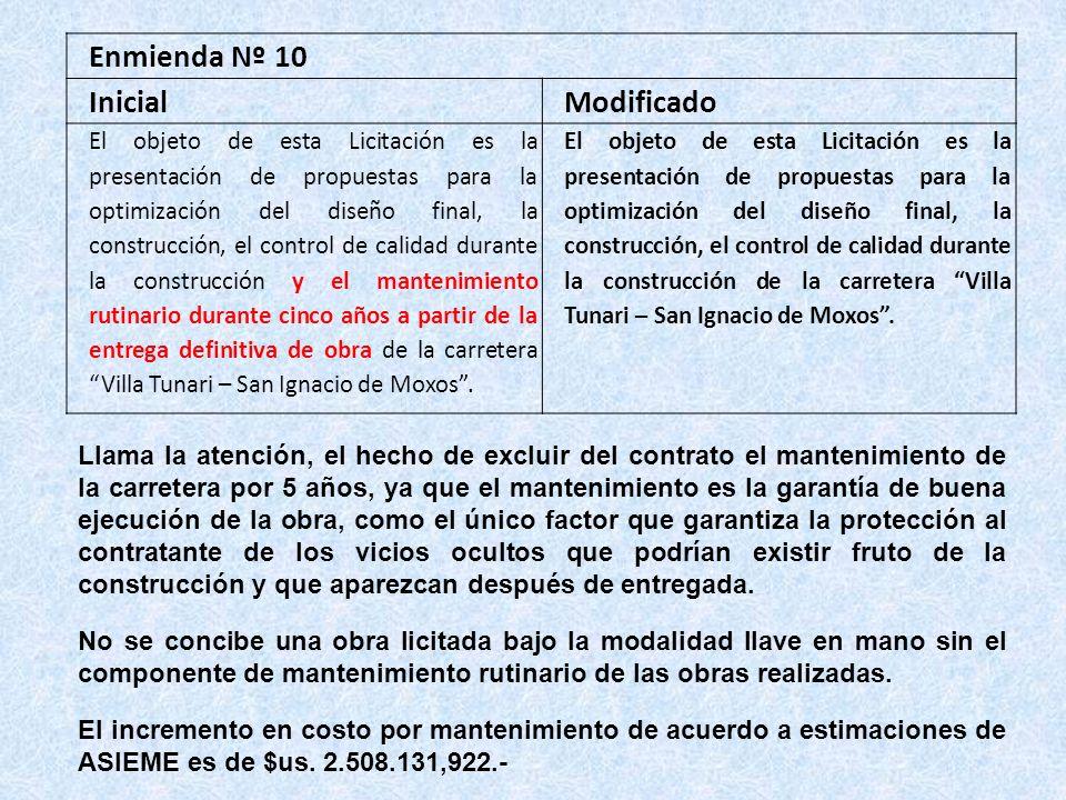 Enmienda Nº 10 InicialModificado El objeto de esta Licitación es la presentación de propuestas para la optimización del diseño final, la construcción,