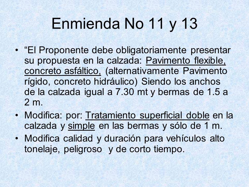 Enmienda No 11 y 13 El Proponente debe obligatoriamente presentar su propuesta en la calzada: Pavimento flexible, concreto asfáltico, (alternativament