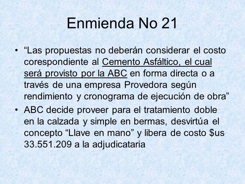 Enmienda No 21 Las propuestas no deberán considerar el costo corespondiente al Cemento Asfáltico, el cual será provisto por la ABC en forma directa o