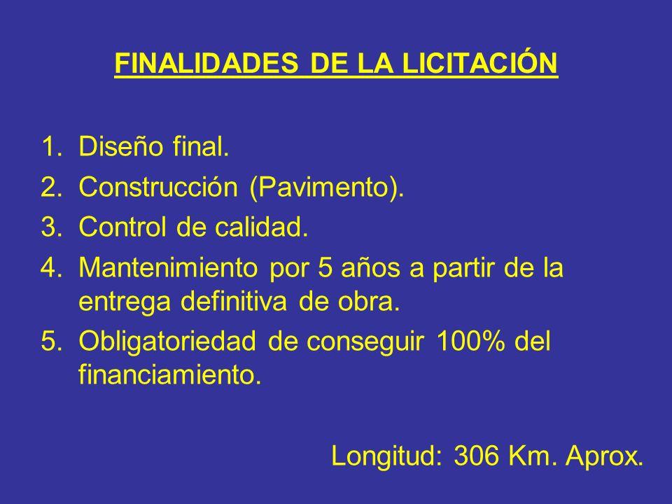 FINALIDADES DE LA LICITACIÓN 1.Diseño final. 2.Construcción (Pavimento). 3.Control de calidad. 4.Mantenimiento por 5 años a partir de la entrega defin