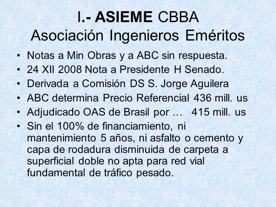 I.- ASIEME CBBA Asociación Ingenieros Eméritos Notas a Min Obras y a ABC sin respuesta. 24 XII 2008 Nota a Presidente H Senado. Derivada a Comisión DS