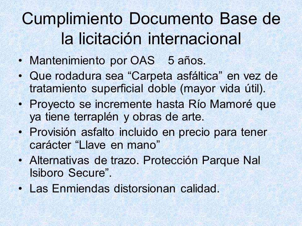 Cumplimiento Documento Base de la licitación internacional Mantenimiento por OAS 5 años. Que rodadura sea Carpeta asfáltica en vez de tratamiento supe