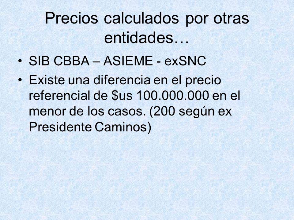 Precios calculados por otras entidades… SIB CBBA – ASIEME - exSNC Existe una diferencia en el precio referencial de $us 100.000.000 en el menor de los