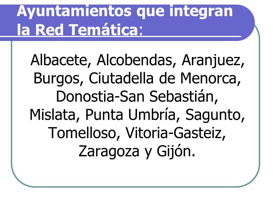 Ayuntamientos que integran la Red Temática : Albacete, Alcobendas, Aranjuez, Burgos, Ciutadella de Menorca, Donostia-San Sebastián, Mislata, Punta Umb