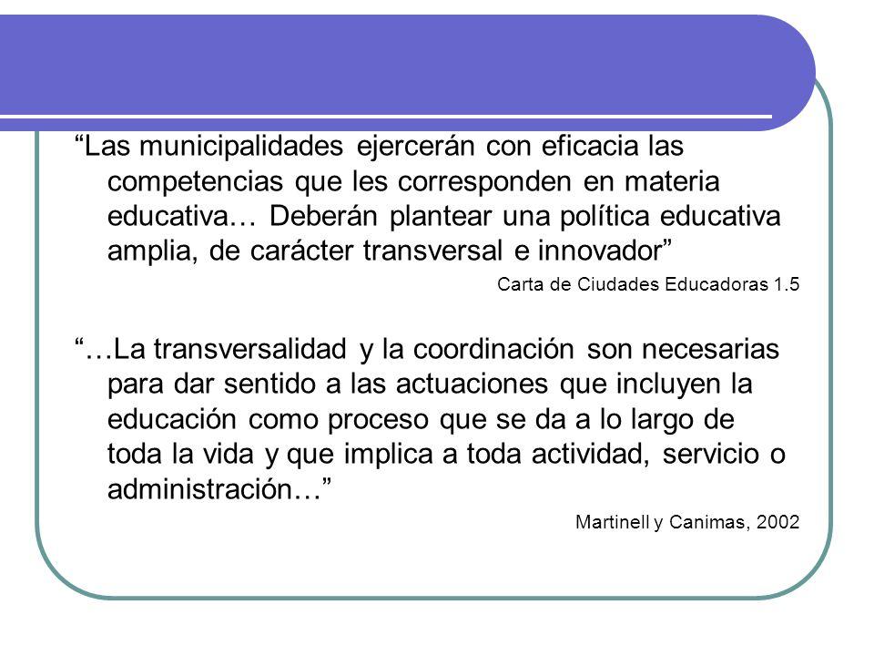 Las municipalidades ejercerán con eficacia las competencias que les corresponden en materia educativa… Deberán plantear una política educativa amplia,