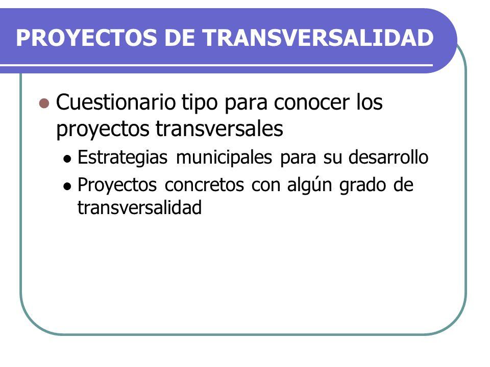 PROYECTOS DE TRANSVERSALIDAD Cuestionario tipo para conocer los proyectos transversales Estrategias municipales para su desarrollo Proyectos concretos