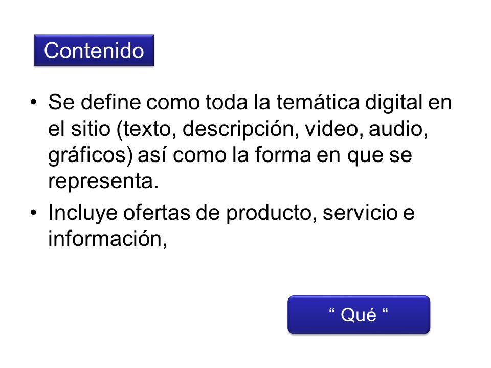 Contenido Qué Se define como toda la temática digital en el sitio (texto, descripción, video, audio, gráficos) así como la forma en que se representa.